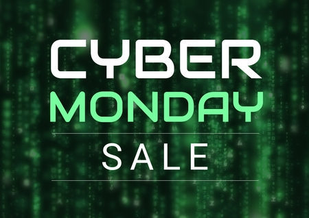 Digital composite of Cyber Monday Sale in green and black