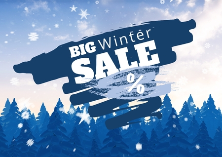 Digital composite of Winter Sale illustrated with firs and snowflakes in blue and white