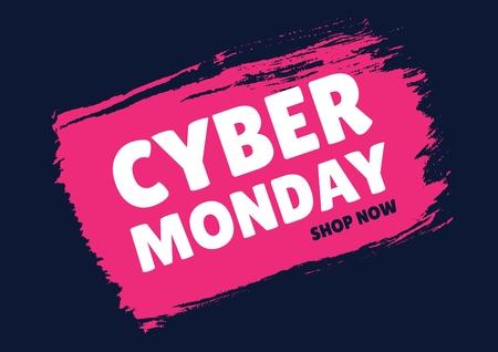 Digital composite of Cyber Monday Sale font on pink splash