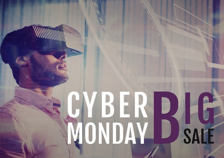 Digital composite of Cyber Monday Sale Man using Augmented Reality