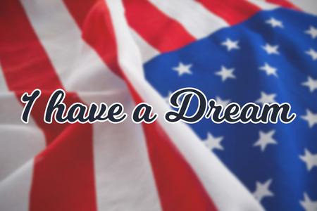 Tengo un sueño contra el primer plano de la bandera americana desmenuzada Foto de archivo