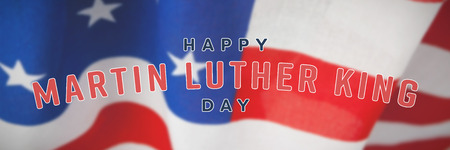 happy Martin Luther King day against american flag with stripes and stars Stock Photo - 111905640