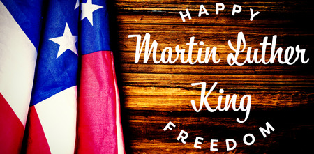 happy Martin Luther King freedom against usa flag on table Stock Photo - 111905648