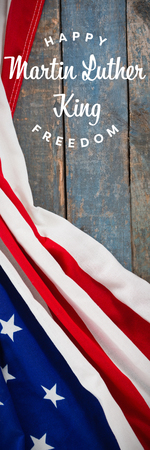 Happy Martin Luther King freedom against american flag on a wooden table Stock Photo - 111960673