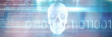 Code against blue human skull