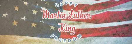 Happy Martin Luther King freedom against american flag on a brown table Stock Photo - 111961022