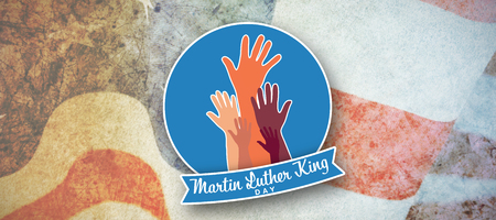 Martin Luther king day with hands against american flag with stripes and stars