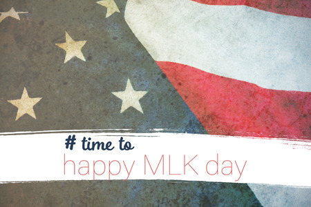 # time to happy MLK day against close-up of flag Stock Photo