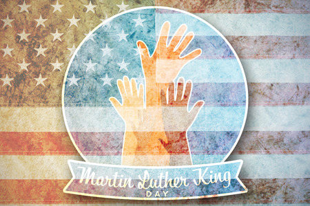 Martin Luther king day with hands against american national flag with stars and stripes Stock Photo