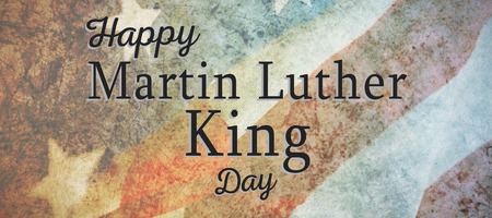Happy Martin Luther King day against close-up of crumbled national flag Stock Photo