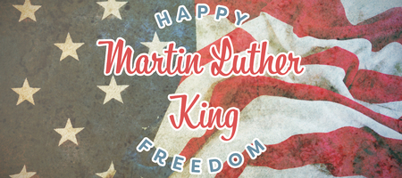 Happy Martin Luther King freedom against american flag on a wooden table