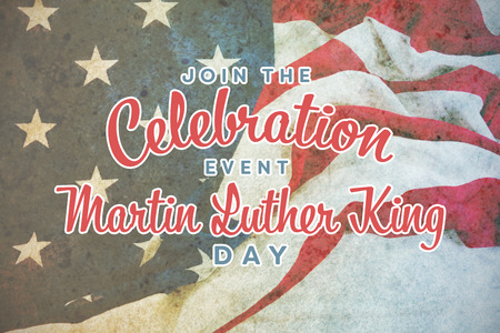 Join the celebration event Martin Luther King Day against american flag on a wooden table Stock Photo
