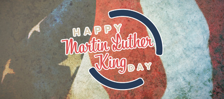 Happy Martin Luther King day against crumbled american flag Stock Photo
