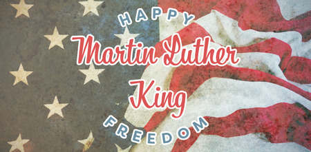 Happy Martin Luther King freedom against american flag on a wooden table Stock Photo - 111968662