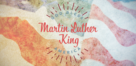 Happy Martin Luther King day, god bless america against close-up of wrinkled american flag Stock Photo