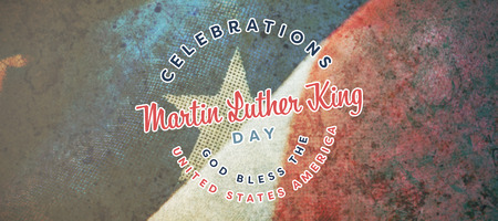 Martin Luther king day against close-up of wrinkled national flag Stock Photo