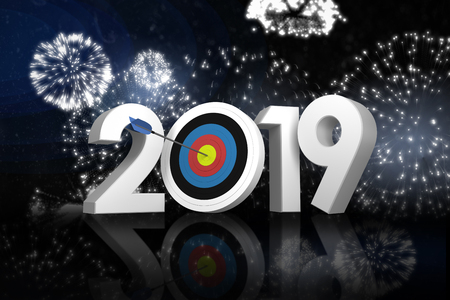 Digital image of numbers with sports target and arrow against white fireworks exploding on black background