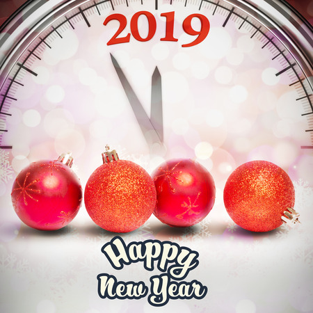 Happy new year against glowing christmas background with baubles and clock