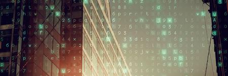 Virus background against side view of modern office buildings Imagens