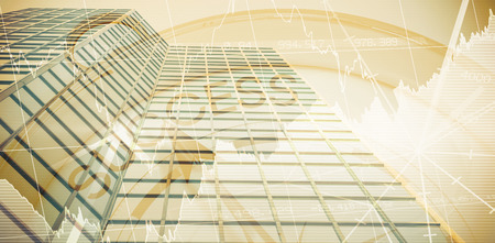 Success text with graphs and navigational compass against low angle close-up view of office building Banco de Imagens