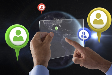 Cropped hand on businessman using glass interface against digitally composite image of planet earth Stock Photo