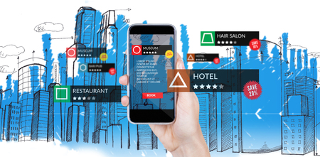 Smartphone With Applications  against digitally generated image of blue city skyline
