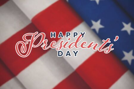 Happy presidents day. Vector typography against close-up of folded american flag Stock fotó