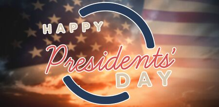 Happy presidents day. Vector typography against composite image of united states of america flag