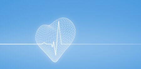 3d image of heart shape  against medical background with blue ecg line
