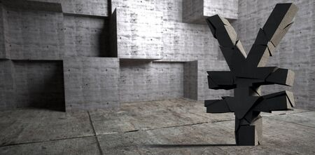 3d image of Yen sign  against abstract room Imagens