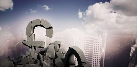 3d illustration of several damaged symbols with rocks against aerial view of a city on a cloudy day Imagens