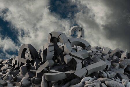 3d image of several damaged symbols with stones  against full frame shot of sky