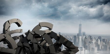 3d composite image of damaged currency symbols with rocks against cityscape