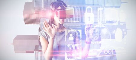 Businesswoman holding virtual glasses on a white background against composite image of security interface Imagens