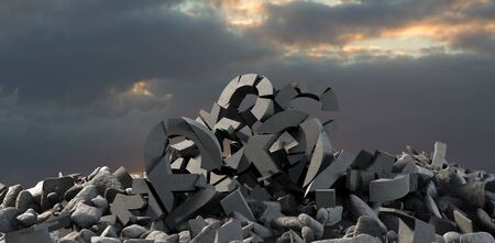 3d image of damaged various signs with stones  against full frame shot of sky