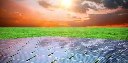 Blue solar panels against grass 写真素材
