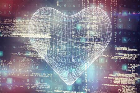 3d illustration of heart shape  against image of data