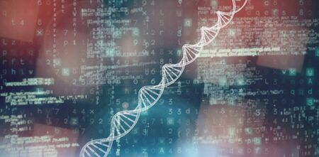 3d composite image of DNA  against image of data Imagens