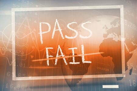 Pass and fail written on blackboard against blue background