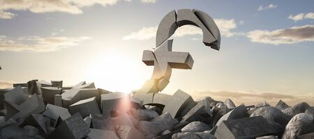 3d image of damaged pound symbol with rocks against scenic view of blue sky