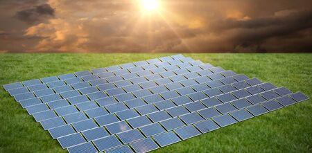 Solar panels  against grass
