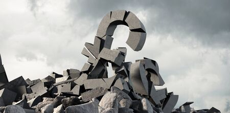 3d image of damaged pound symbol with stones against full frame shot of sky