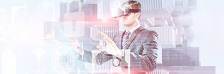 Businessman gesturing while using virtual reality headset against composite image of identification interface