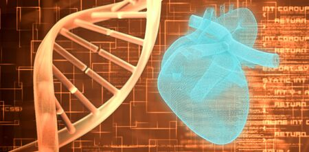3d image of human heart  against orange dna helix background squares Foto de archivo