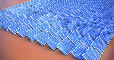 Blue solar panels against orange background Imagens