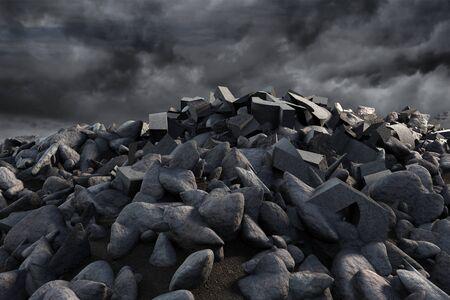 pile of rocks against full frame shot of sky