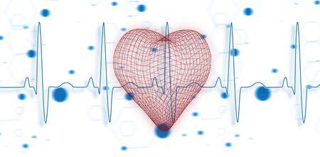 Vector image of 3d heart shape  against blue ecg line on blue chemical formula background Stock Photo - 128392711