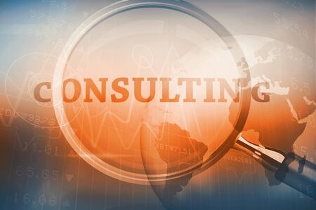 Magnifying glass showing consulting word on blue background