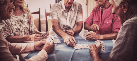 Group of seniors playing cards in the retirement house Reklamní fotografie
