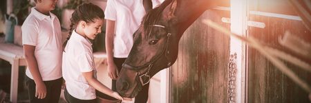 Three smiling kids feeding the horse in stable